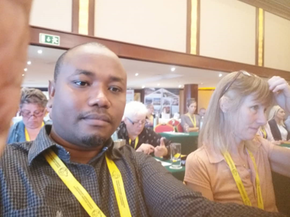 Figure 3. Our director, Mr. Ayubu Nnko, enjoying a light moment during the annual International Companion Animals Welfare Conference in Valletta, Malta. He reiterated the commitment of EAAW in advancing the movement of animal welfare in Africa.